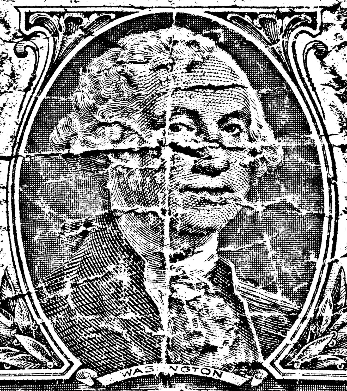 George Washington from the one dollar bill - old and wrinkled - Old money - Techno-Impressionist Museum - Techno-Impressionism - art - beautiful - photo photography picture - by Tony Karp