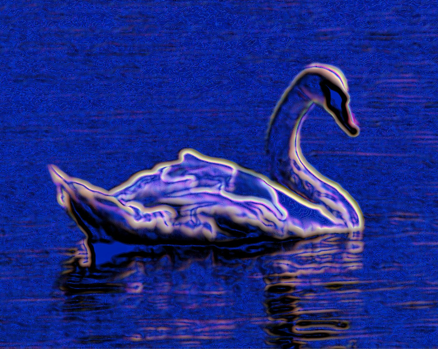 - Electric swan - Techno-Impressionist Museum - Techno-Impressionism - art - beautiful - photo photography picture - by Tony Karp