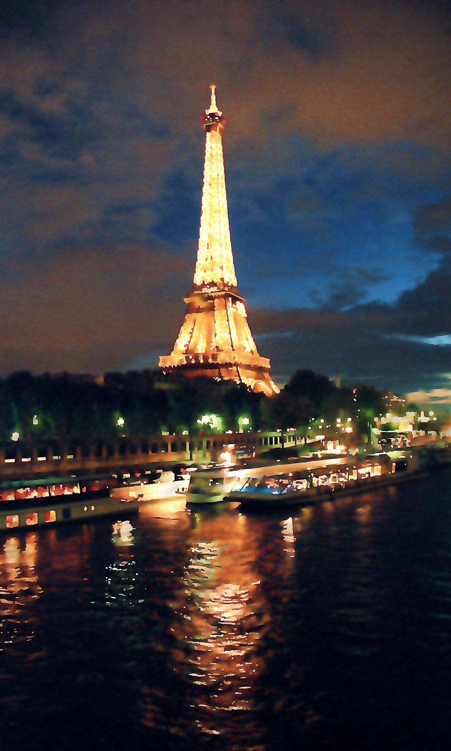 - Night on the Seine - Techno-Impressionist Museum - Techno-Impressionism - art - beautiful - photo photography picture - by Tony Karp