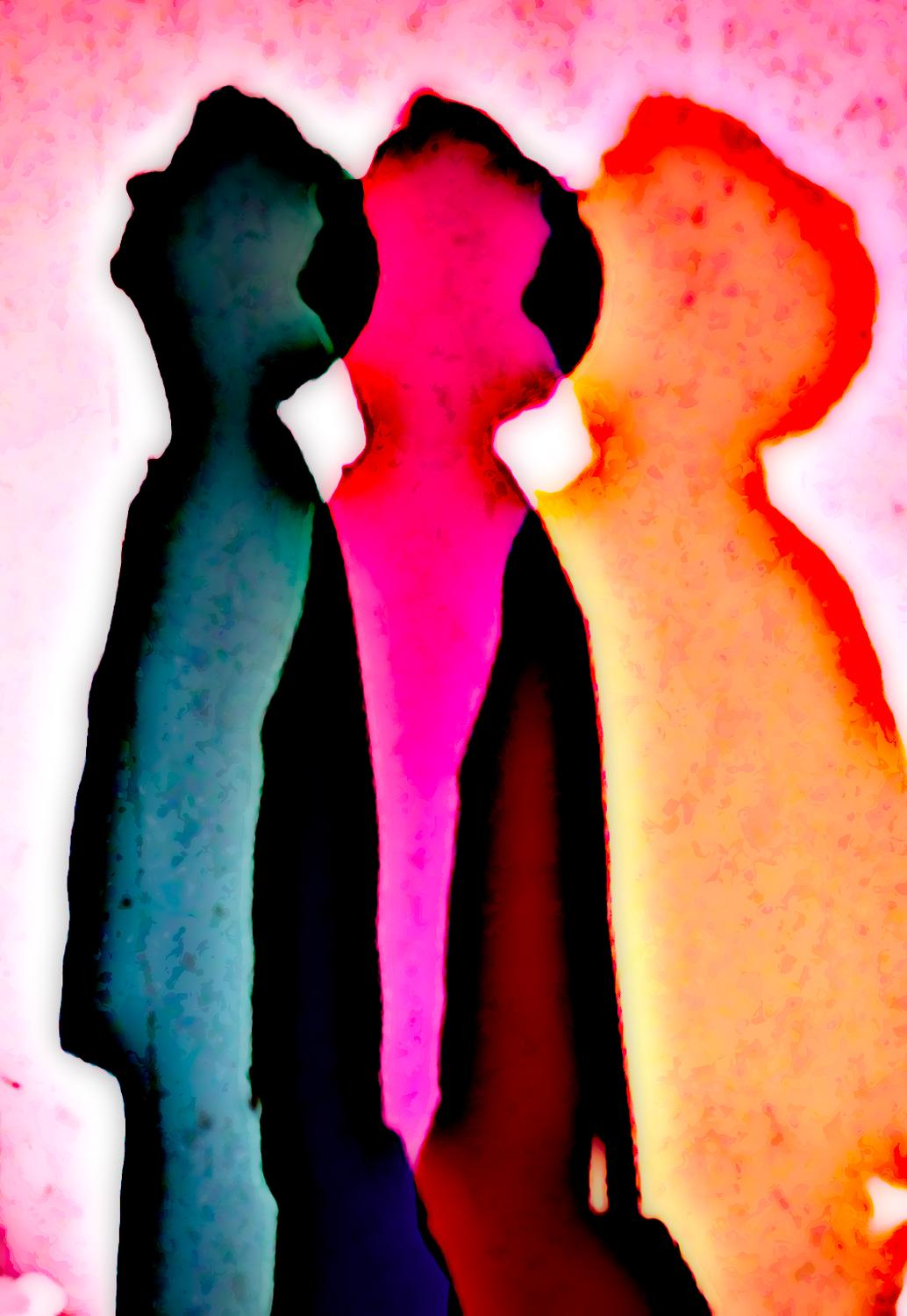 the Hobbitt, artist's muse at the Exploratorium - three colored shadows - The three faces of the Hobbitt - Techno-Impressionist Museum - Techno-Impressionism - art - beautiful - photo photography picture - by Tony Karp