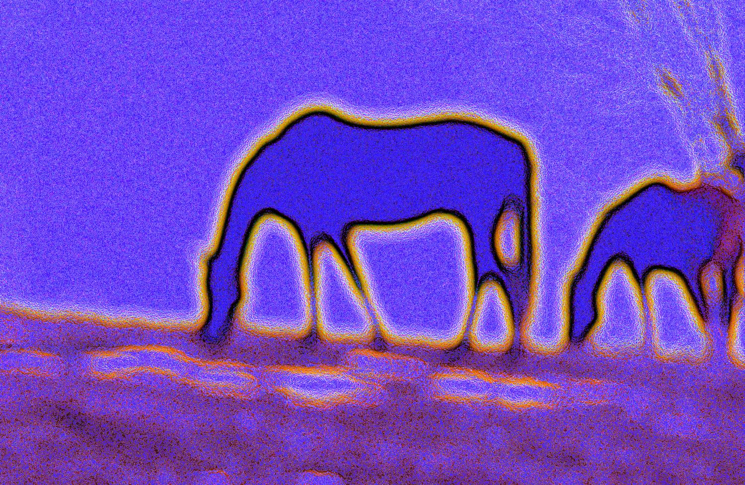 abstract picture of purple horses - Horses on Logmill Road - #1 - Techno-Impressionist Museum - Techno-Impressionism - art - beautiful - photo photography picture - by Tony Karp