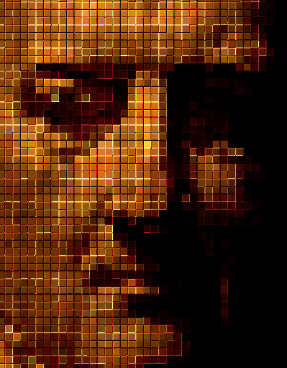 brown Portrait in small mosaic tiles - Portrait in small mosaic tiles - Techno-Impressionist Museum - Techno-Impressionism - art - beautiful - photo photography picture - by Tony Karp