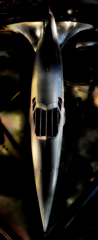 a dramatic photo of the Concorde at Udvar Hazy air and space museum  - vertical panorama- by Tony Karp - Concorde - Techno-Impressionist Museum - Techno-Impressionism - art - beautiful - photo photography picture - by Tony Karp